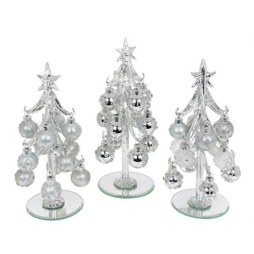 Medium Silver Glass Christmas Trees with Silver Decorated Baubles